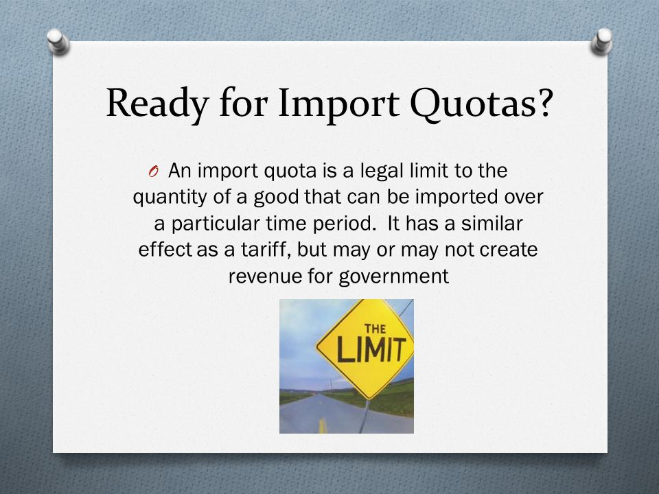 Ready for Import Quotas