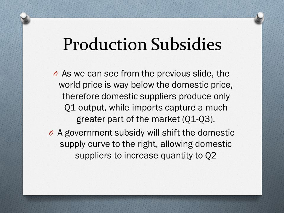 Production Subsidies