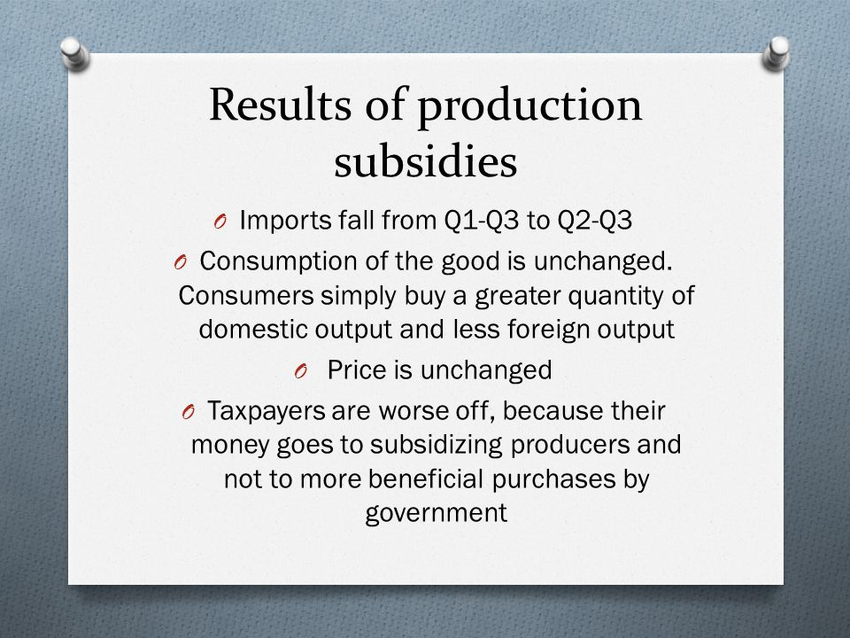 Results of production subsidies