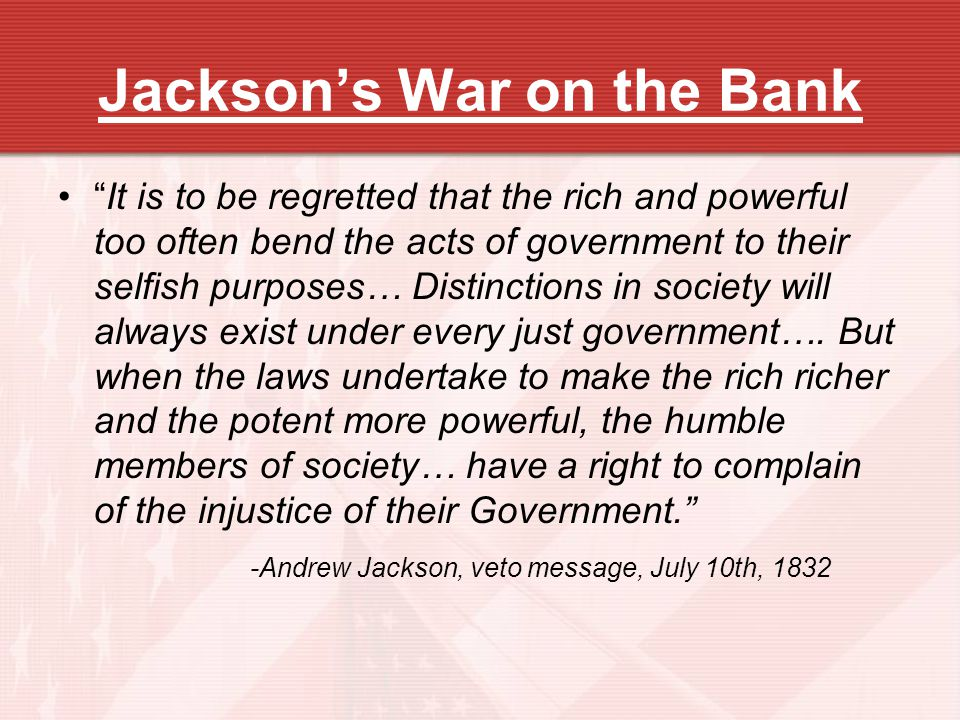 Jackson's War on the Bank