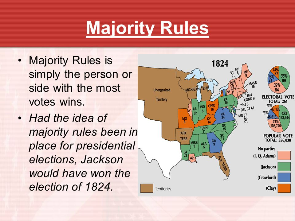 Majority Rules Majority Rules is simply the person or side with the most votes wins.
