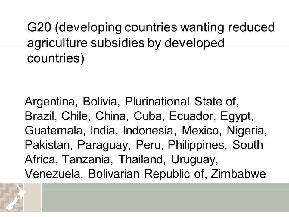G20 (developing countries wanting reduced agriculture subsidies by developed countries)