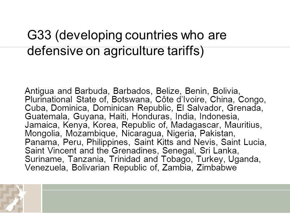 G33 (developing countries who are defensive on agriculture tariffs)