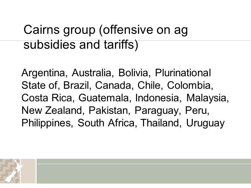 Cairns group (offensive on ag subsidies and tariffs)