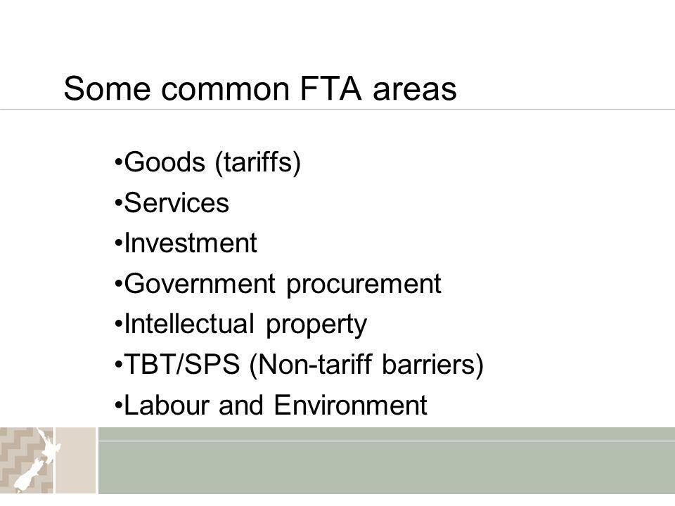 Some common FTA areas Goods (tariffs) Services Investment