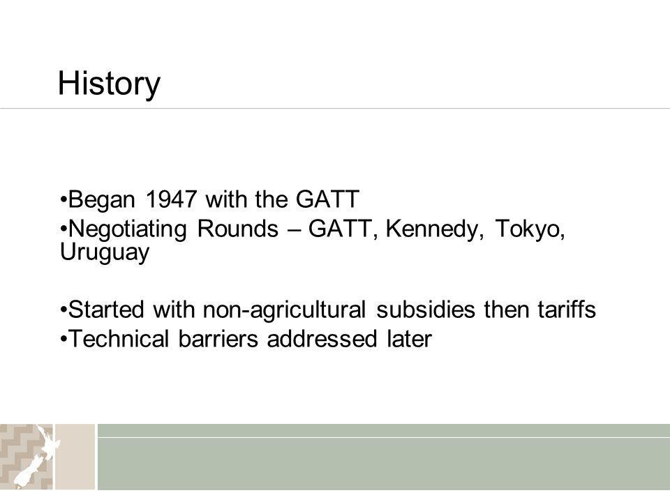 History Began 1947 with the GATT