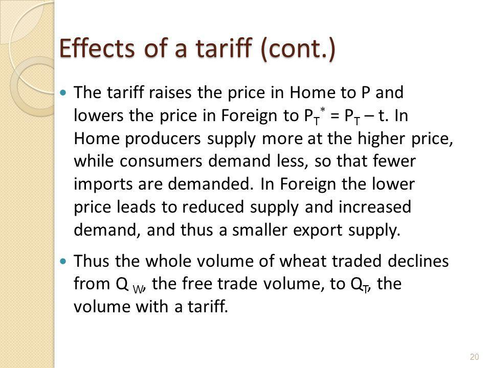 Effects of a tariff (cont.)