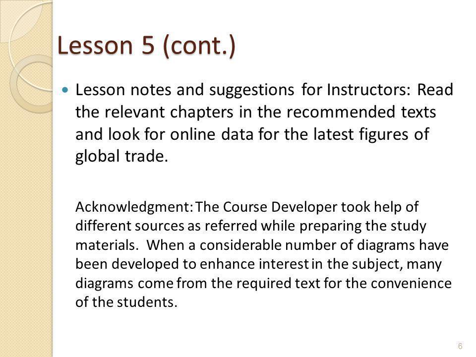 Lesson 5 (cont.)