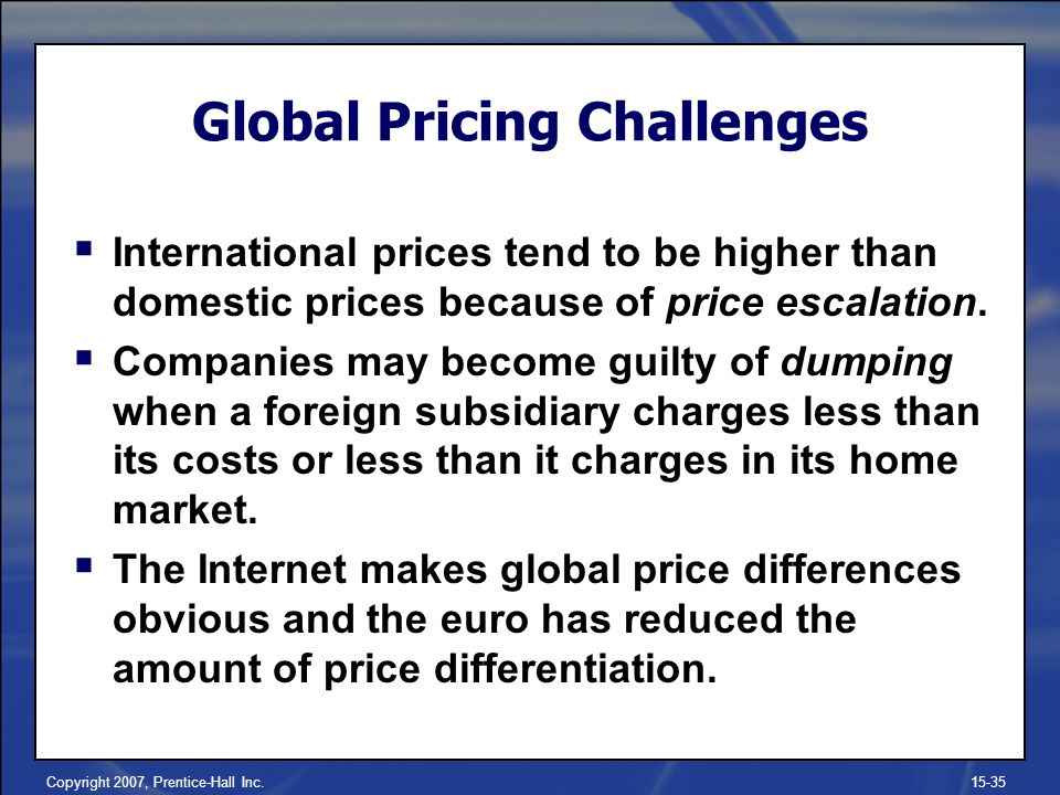 Global Pricing Challenges