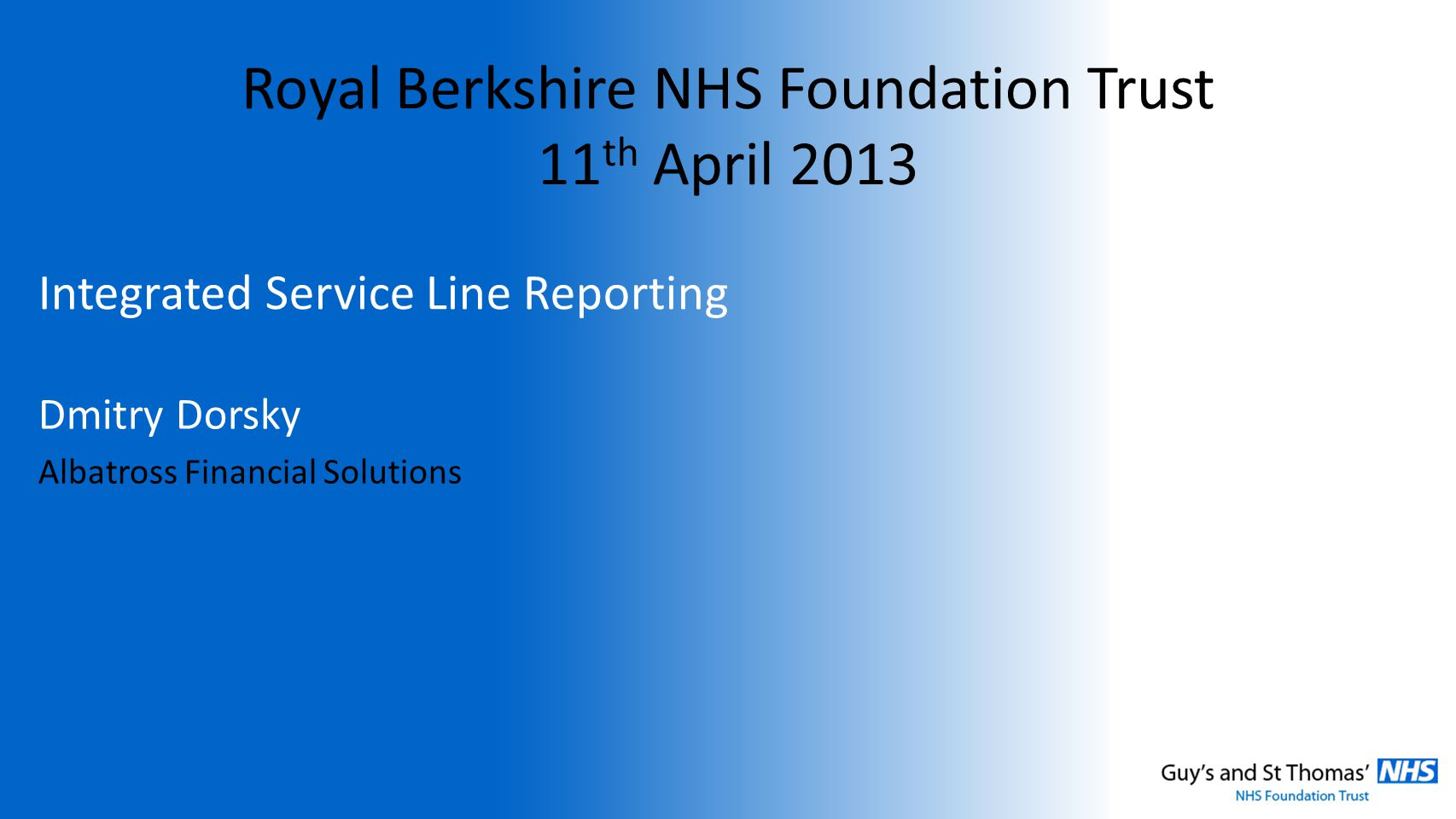Integrated Service Line Reporting