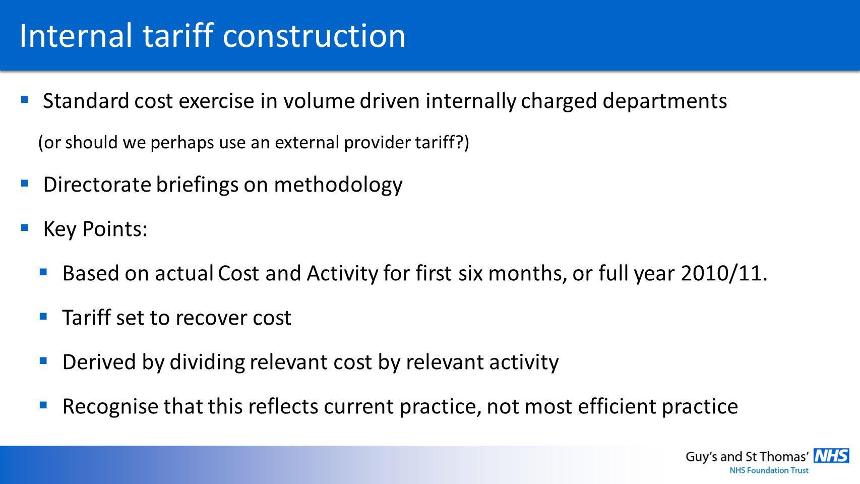 Internal tariff construction