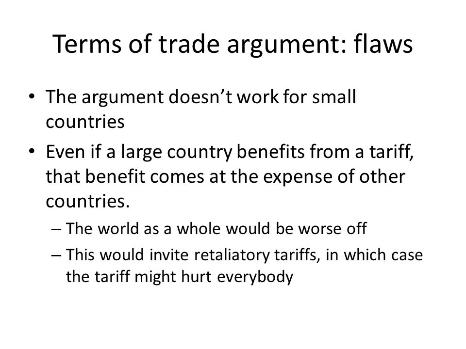 Terms of trade argument: flaws