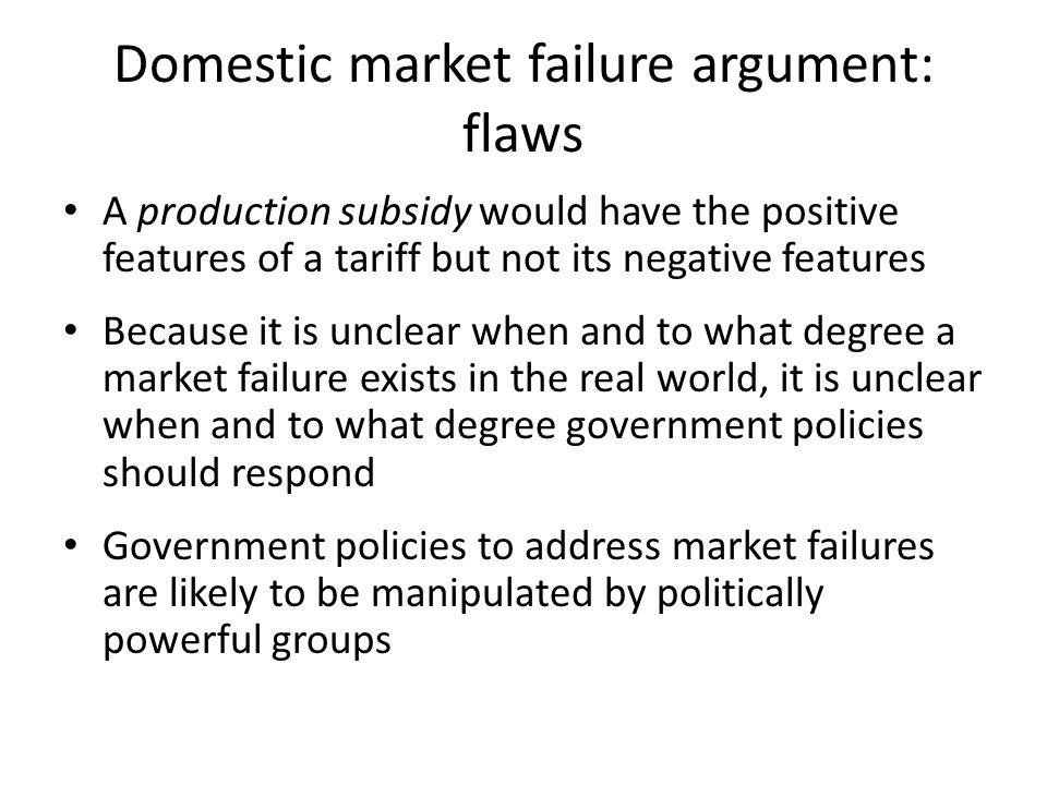 Domestic market failure argument: flaws