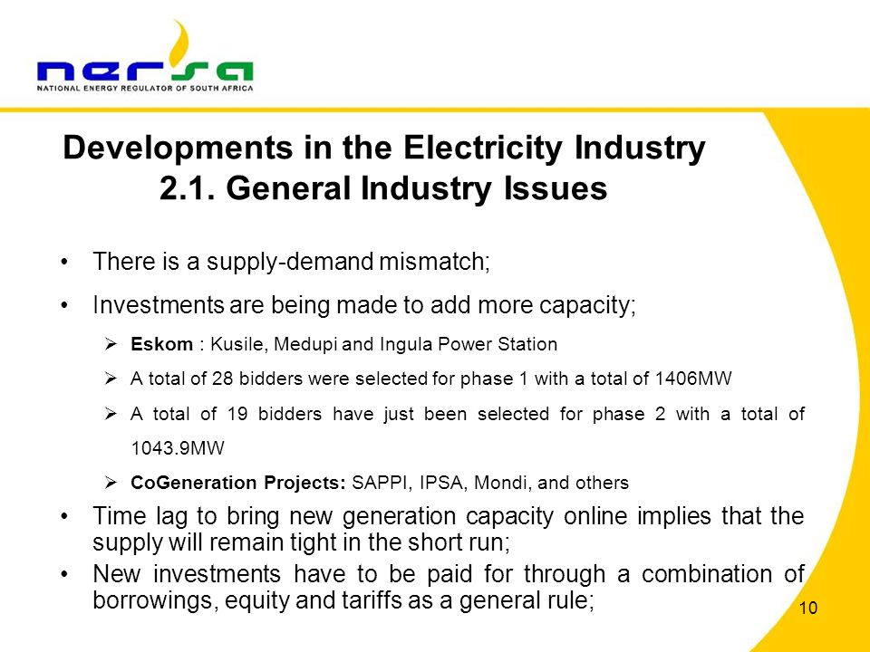 Developments in the Electricity Industry 2.1. General Industry Issues