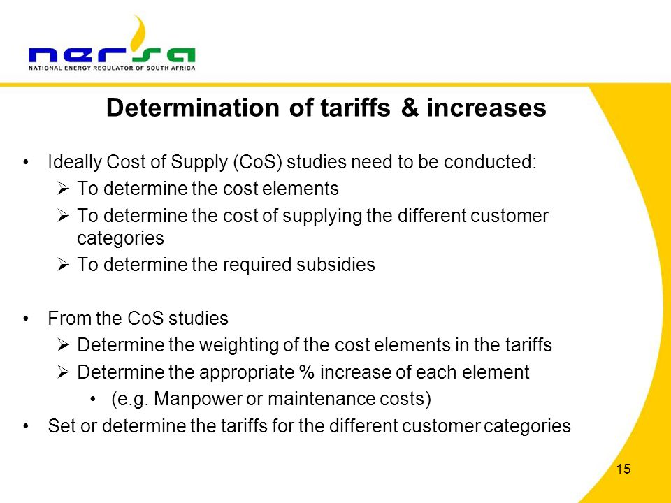 Determination of tariffs & increases
