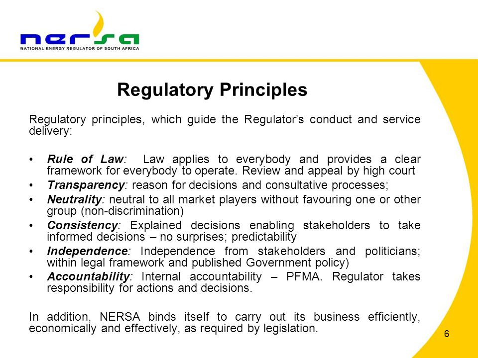 Regulatory Principles