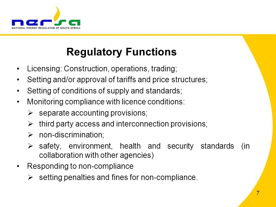 Regulatory Functions Licensing: Construction, operations, trading;