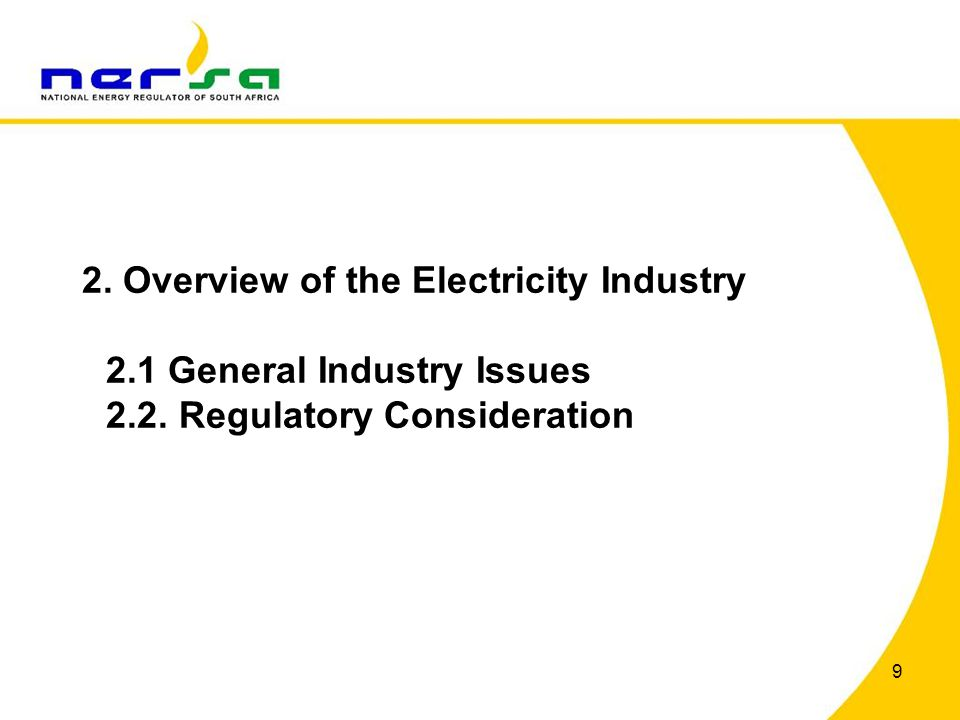 2. Overview of the Electricity Industry. 2. 1 General Industry Issues