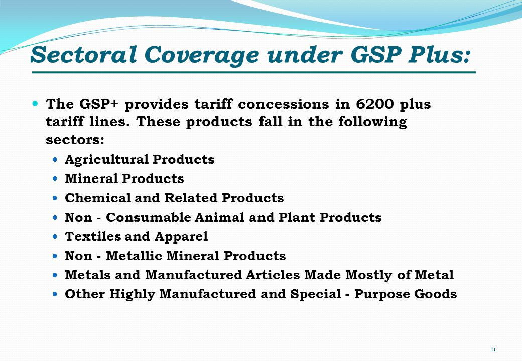 Sectoral Coverage under GSP Plus: