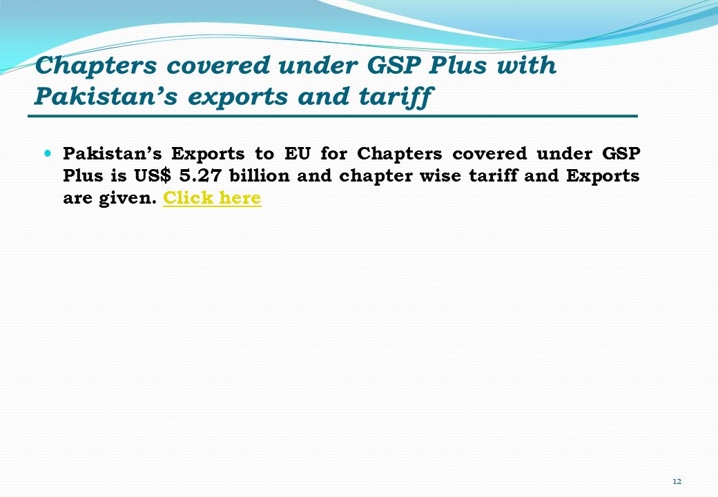 Chapters covered under GSP Plus with Pakistan's exports and tariff