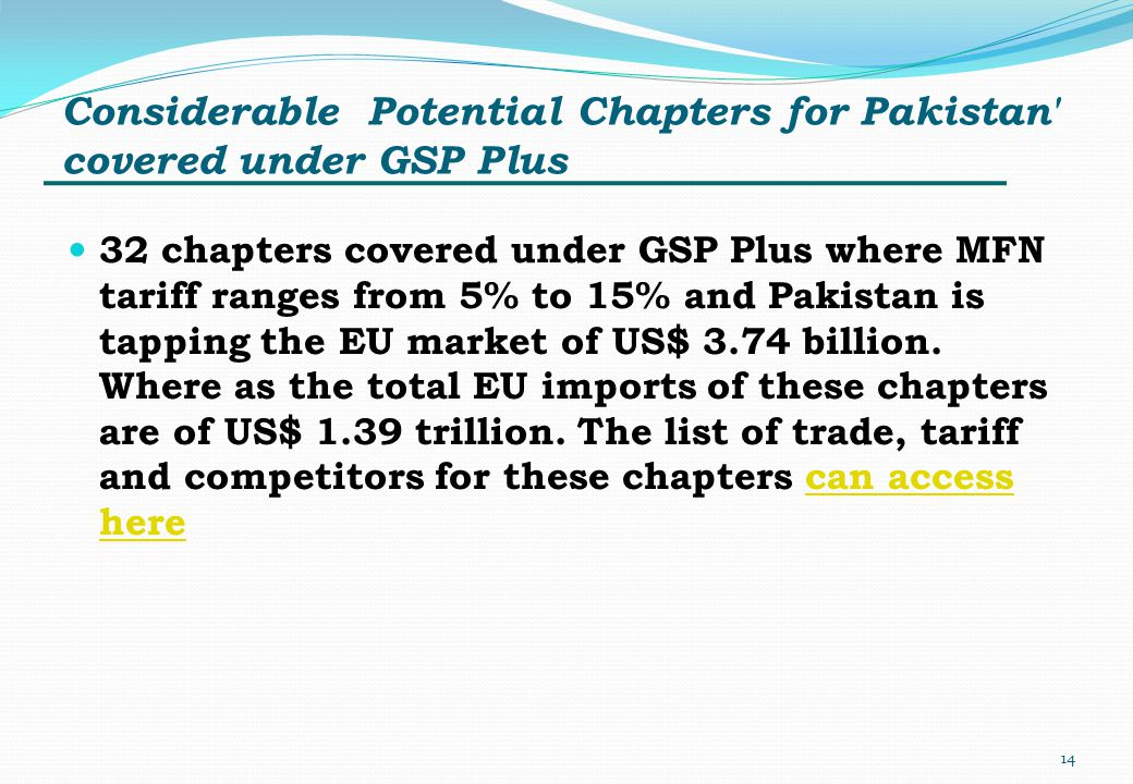 Considerable Potential Chapters for Pakistan covered under GSP Plus