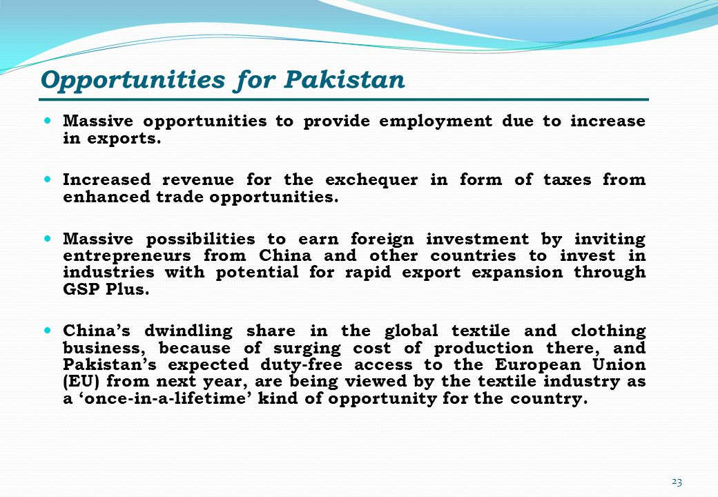 Opportunities for Pakistan