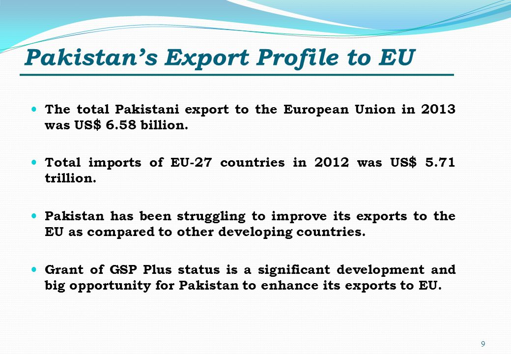 Pakistan's Export Profile to EU