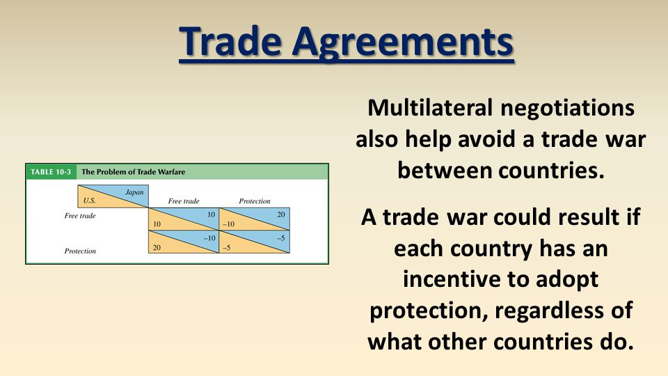 Trade Agreements Multilateral negotiations also help avoid a trade war between countries.