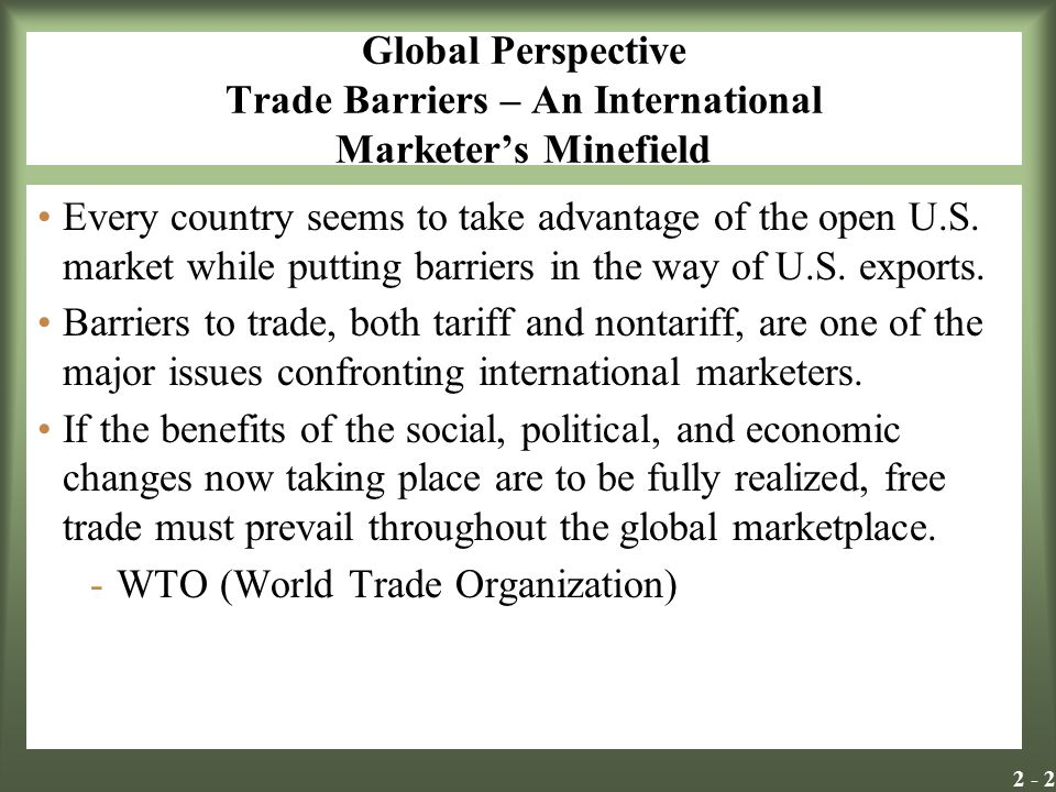 Global Perspective Trade Barriers – An International Marketer's Minefield