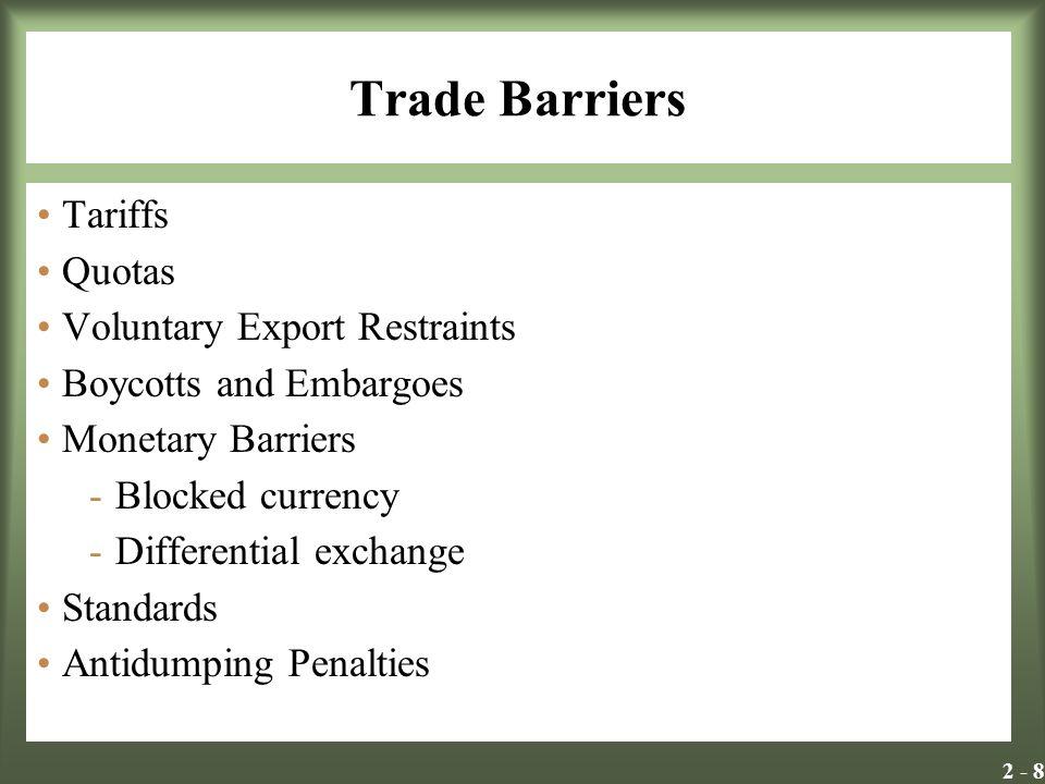 Trade Barriers Tariffs Quotas Voluntary Export Restraints