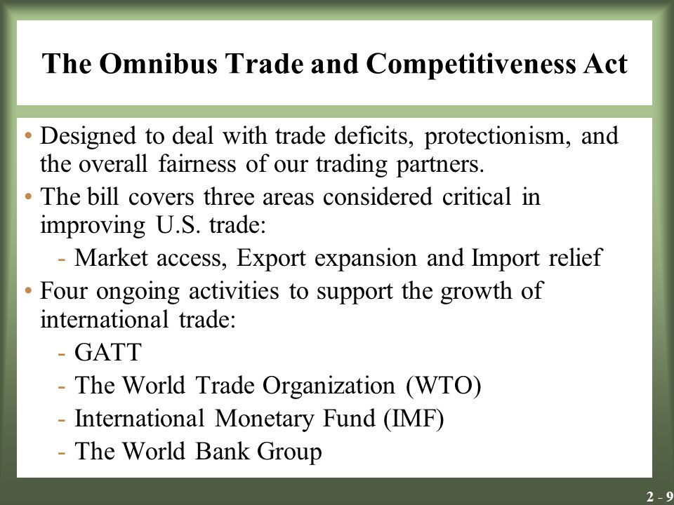 The Omnibus Trade and Competitiveness Act