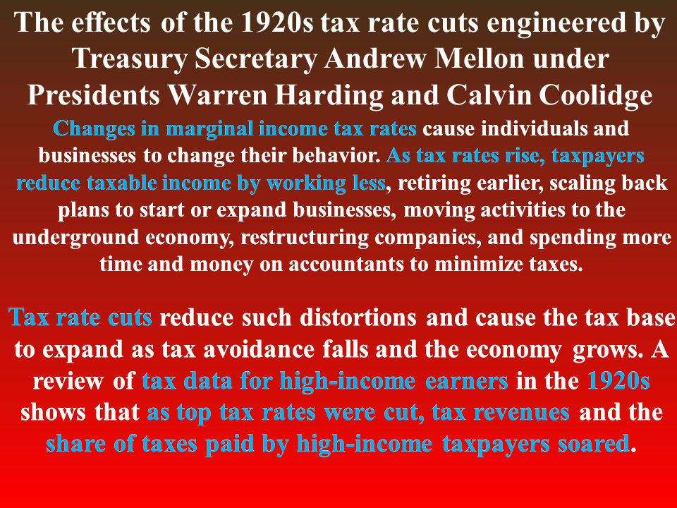 The effects of the 1920s tax rate cuts engineered by Treasury Secretary Andrew Mellon under Presidents Warren Harding and Calvin Coolidge