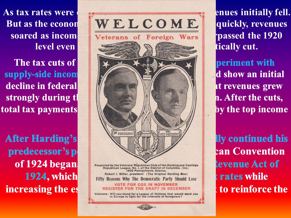As tax rates were cut in the mid-1920s, total tax revenues initially fell. But as the economy responded and began growing quickly, revenues soared as incomes rose. By 1928, revenues had surpassed the 1920 level even though tax rates had been dramatically cut.