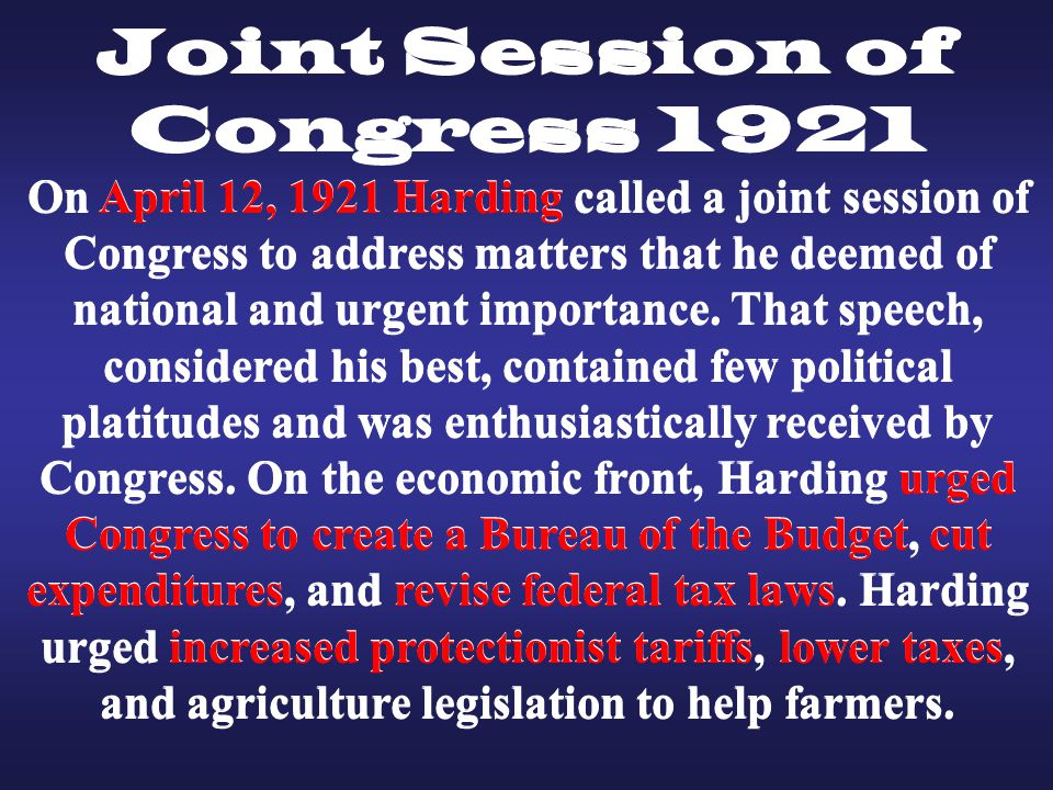 Joint Session of Congress 1921 Joint Session of Congress 1921