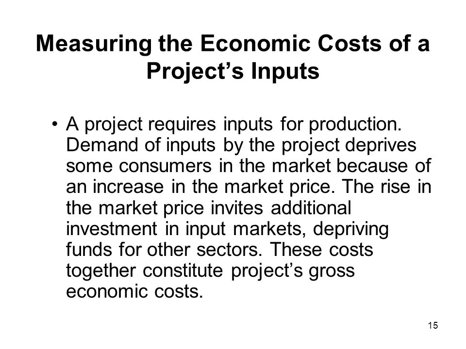 Measuring the Economic Costs of a Project's Inputs