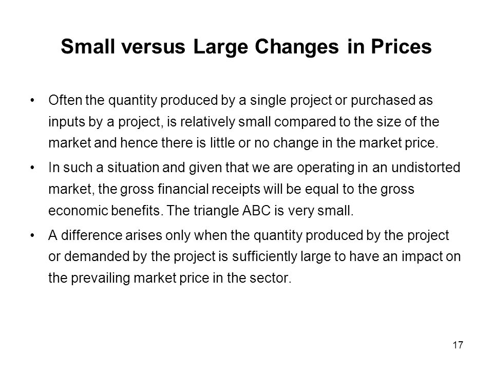 Small versus Large Changes in Prices