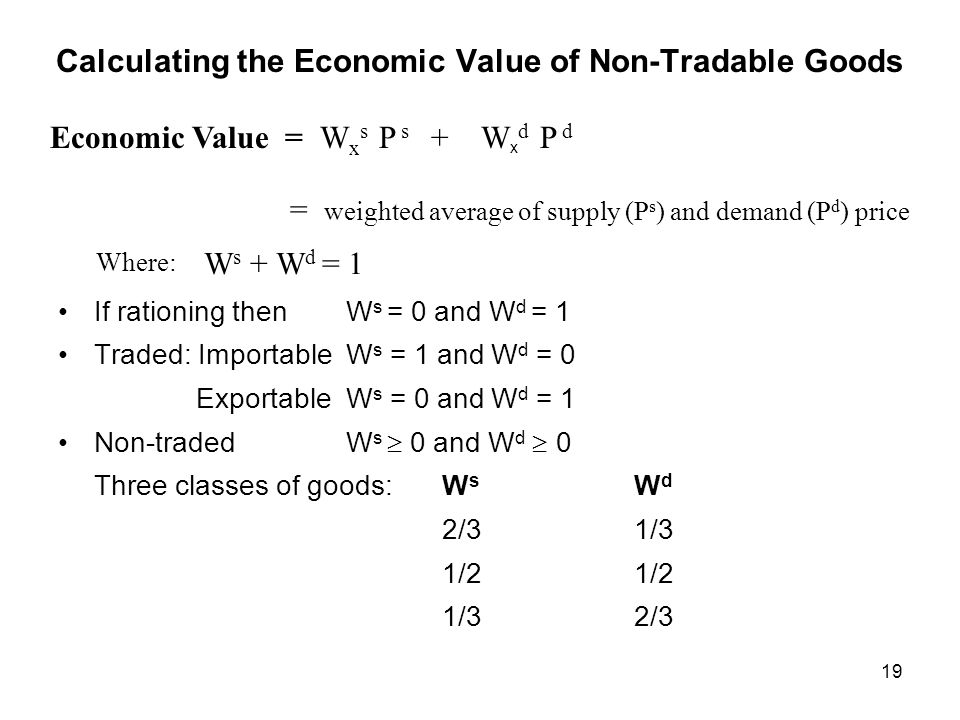 Calculating the Economic Value of Non-Tradable Goods