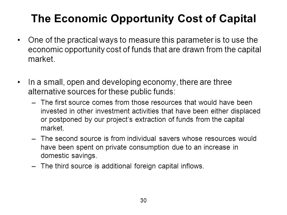 The Economic Opportunity Cost of Capital