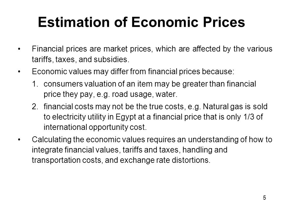 Estimation of Economic Prices