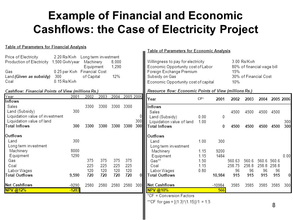 Example of Financial and Economic Cashflows: the Case of Electricity Project