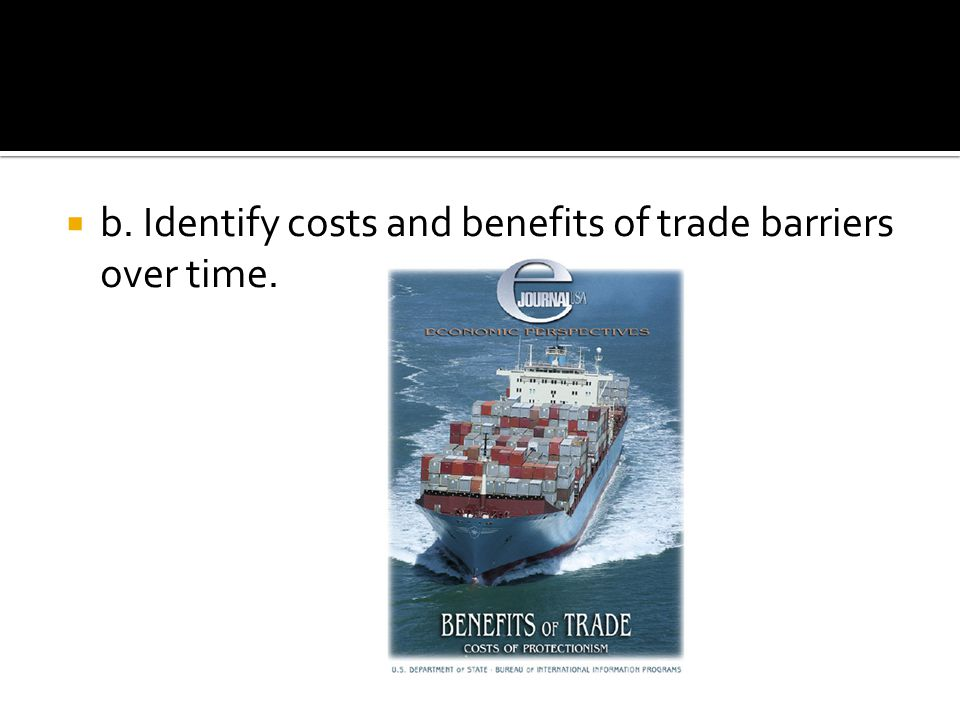 b. Identify costs and benefits of trade barriers over time.