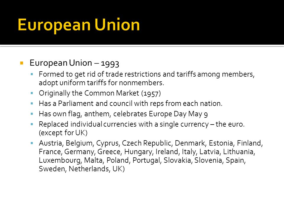 European Union European Union – 1993