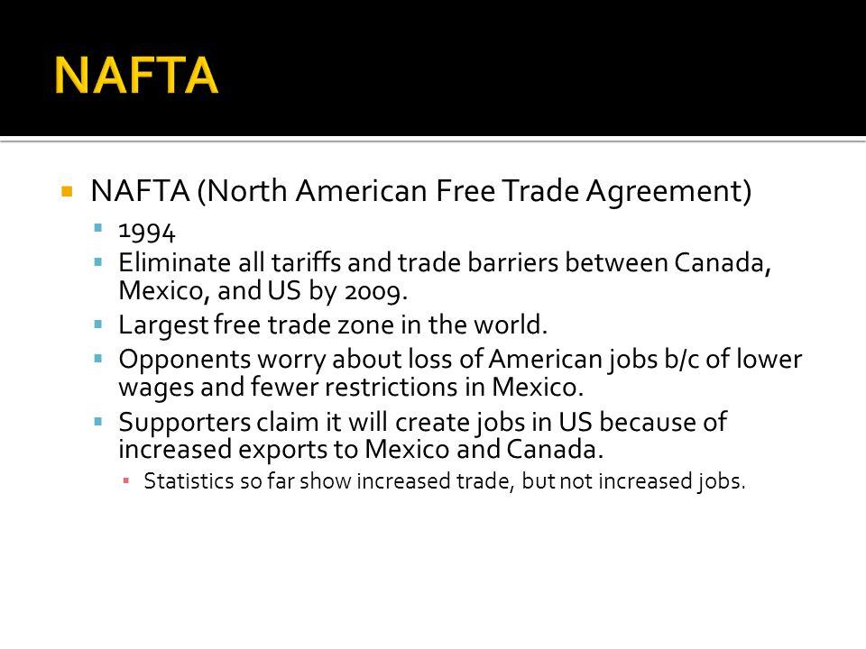NAFTA NAFTA (North American Free Trade Agreement) 1994