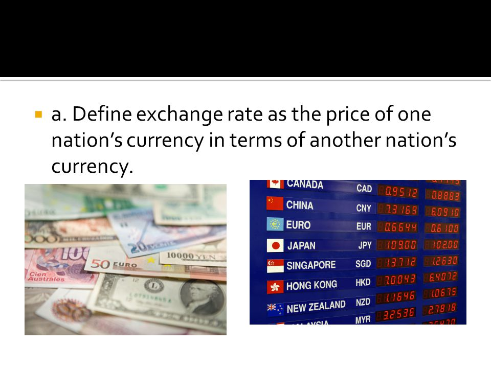 a. Define exchange rate as the price of one nation's currency in terms of another nation's currency.