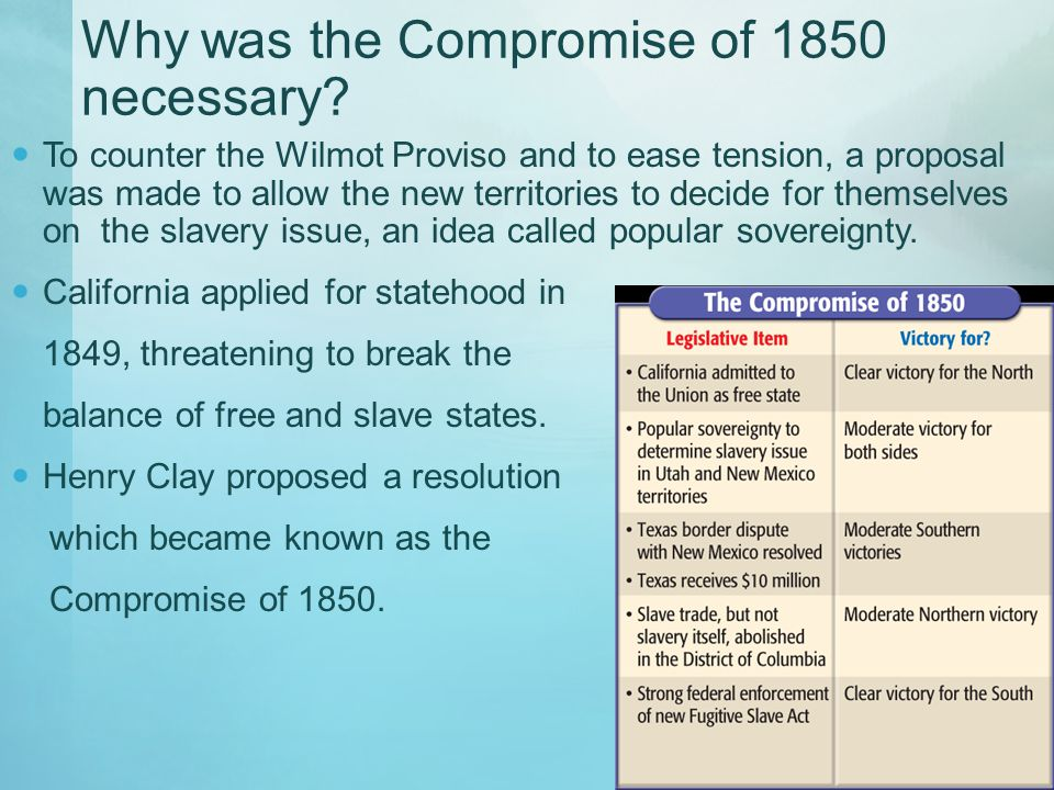 Why was the Compromise of 1850 necessary