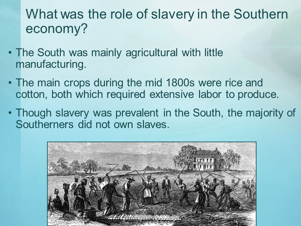 What was the role of slavery in the Southern economy