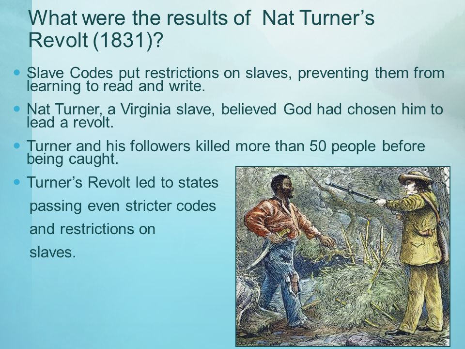 What were the results of Nat Turner's Revolt (1831)