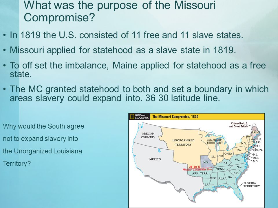 SSUSH The Student Will Explain The Relationship Between Growing - 1819 map of us free and slave states