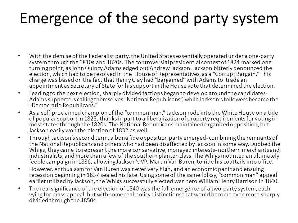 Emergence of the second party system