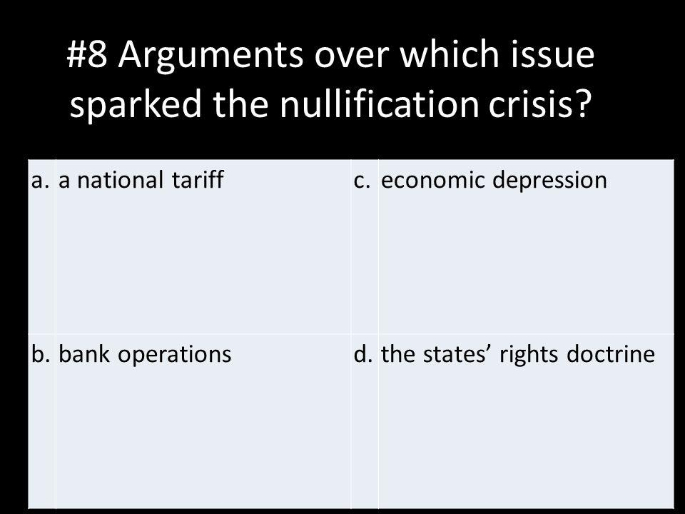 #8 Arguments over which issue sparked the nullification crisis